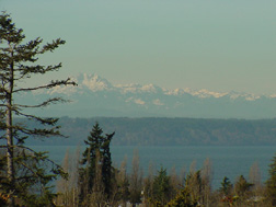 A view of the Olympic Mountains and Tramp Harbor.
