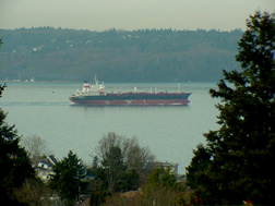 Cargo ship returning from Commencement Bay, Port of Tacoma, WA.